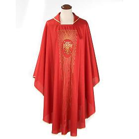 Chasuble liturgique broderie dorée croix avec rayons s1