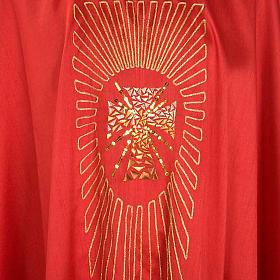 Chasuble liturgique broderie dorée croix avec rayons s3
