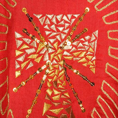Casula shantung ricamo dorato croce con raggi 4