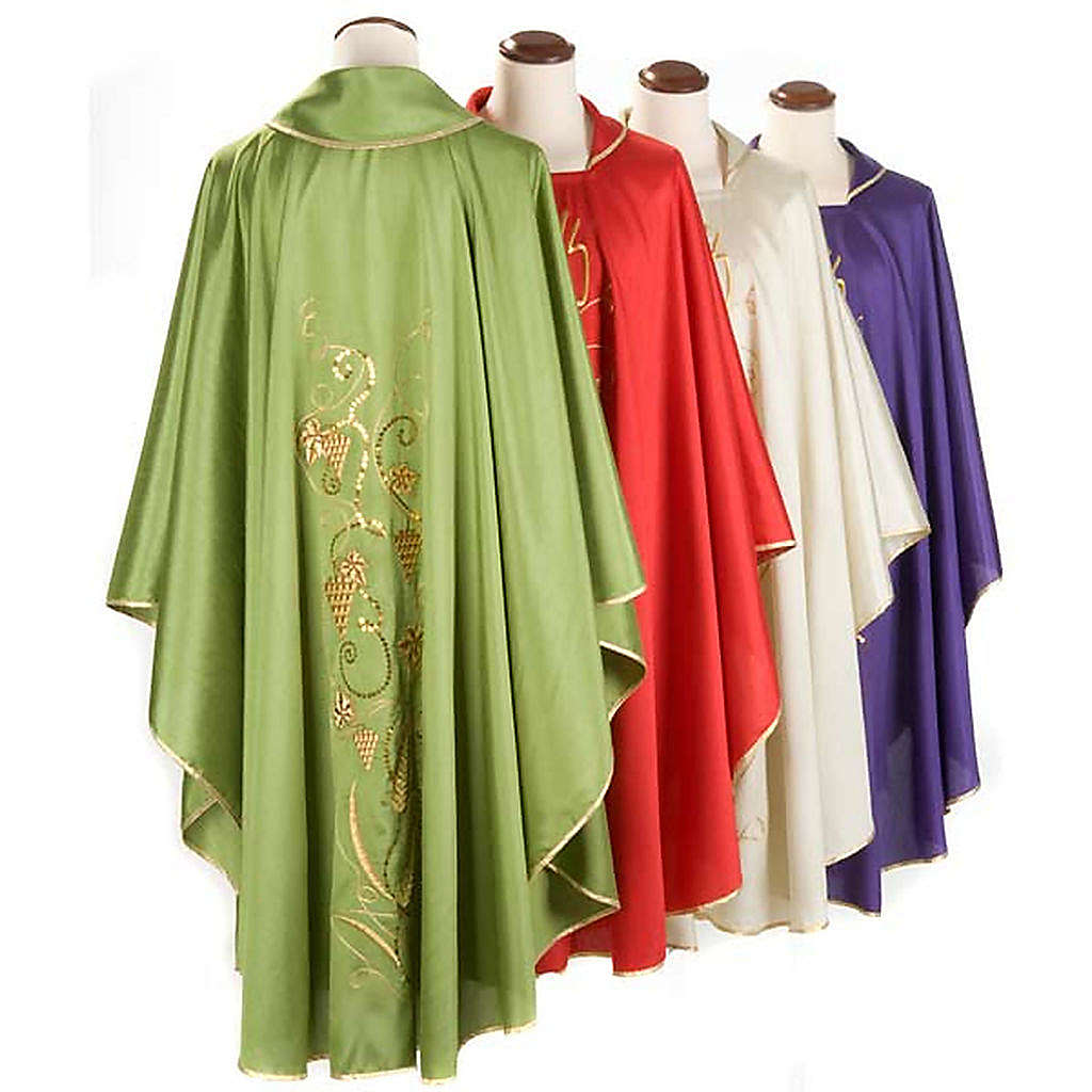Casulla litúrgica shantung bordado dorado vid, uva, IHS 4