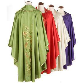 Casulla litúrgica shantung bordado dorado vid, uva, IHS s2