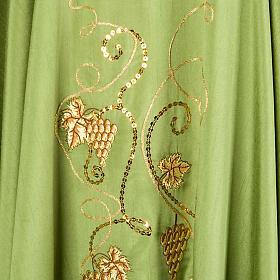 Casulla litúrgica shantung bordado dorado vid, uva, IHS s5