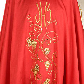 Casulla litúrgica shantung bordado dorado vid, uva, IHS s6