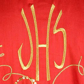 Casulla litúrgica shantung bordado dorado vid, uva, IHS s7