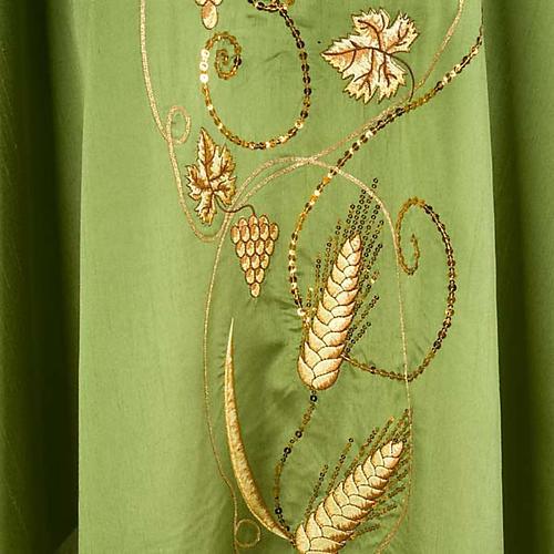 Casulla litúrgica shantung bordado dorado vid, uva, IHS 3