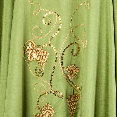 Casulla litúrgica shantung bordado dorado vid, uva, IHS 5