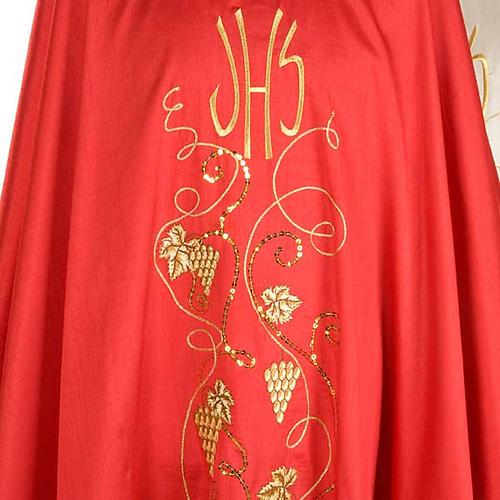 Casulla litúrgica shantung bordado dorado vid, uva, IHS 6