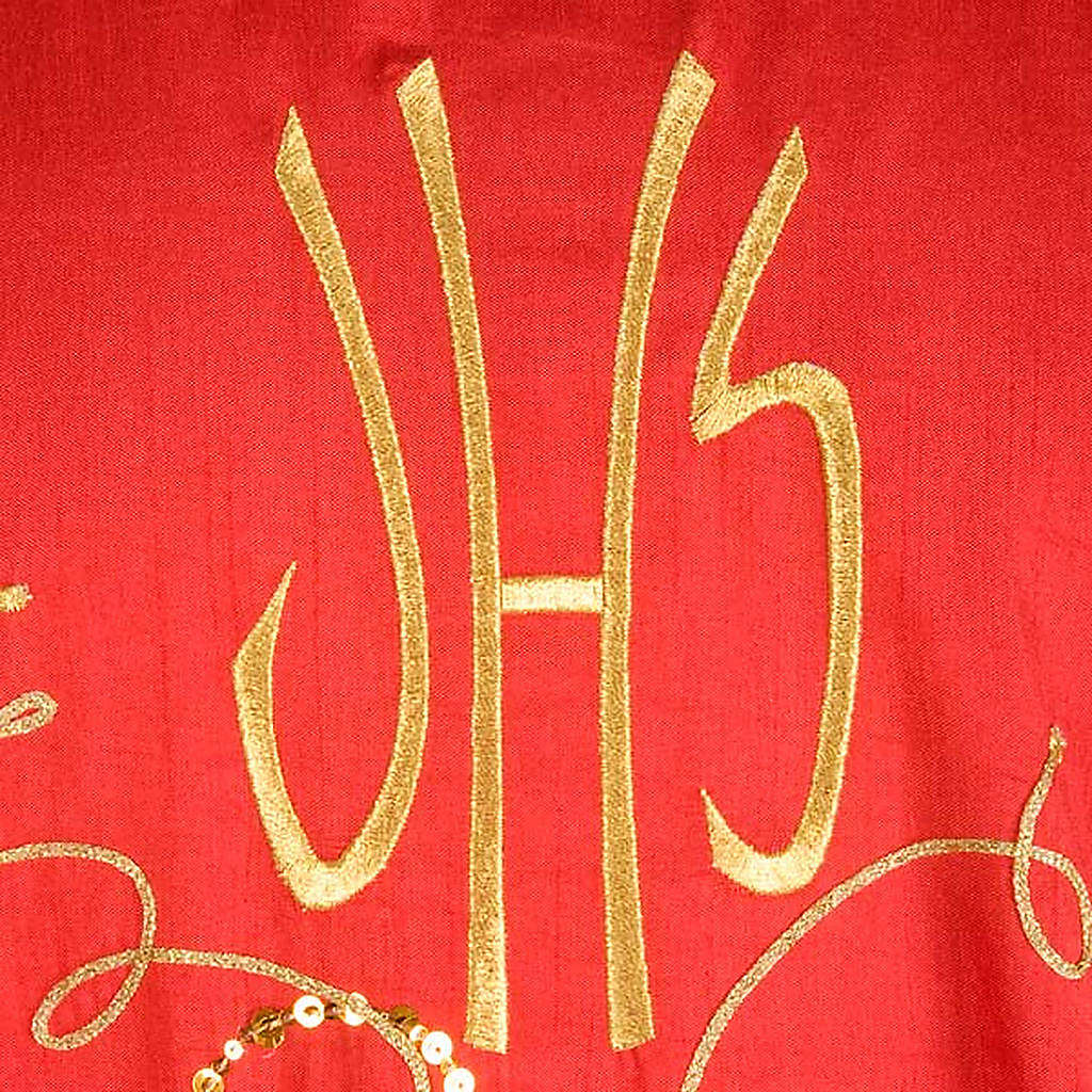 Casula shantung con ricamo dorato vite, uva IHS 4