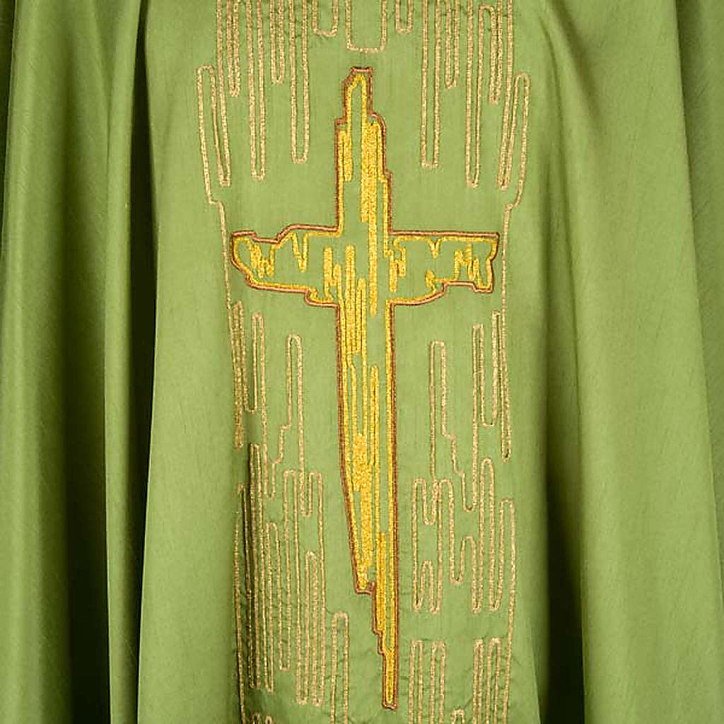 Chasuble golden stylized cross shantung 4