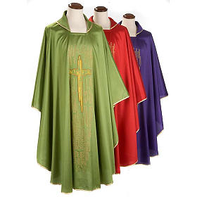 Chasuble golden stylized cross shantung s1