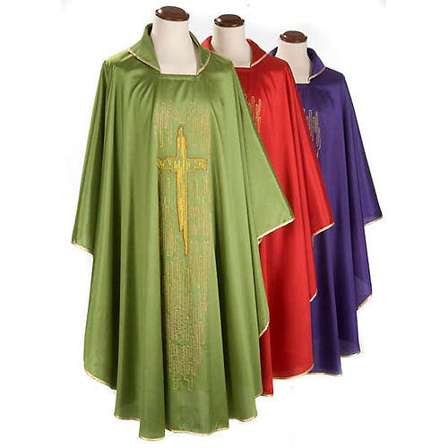 Chasuble golden stylized cross shantung 1