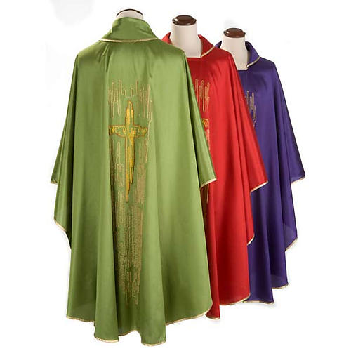 Chasuble golden stylized cross shantung 2