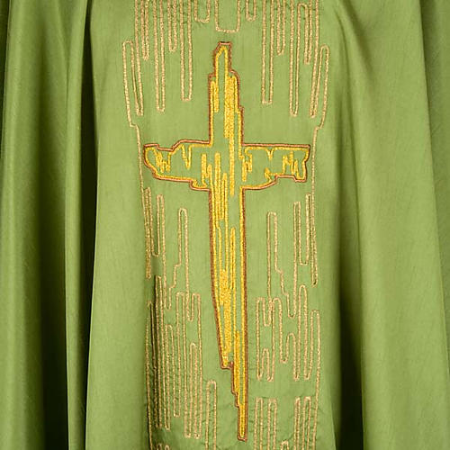 Chasuble golden stylized cross shantung 3