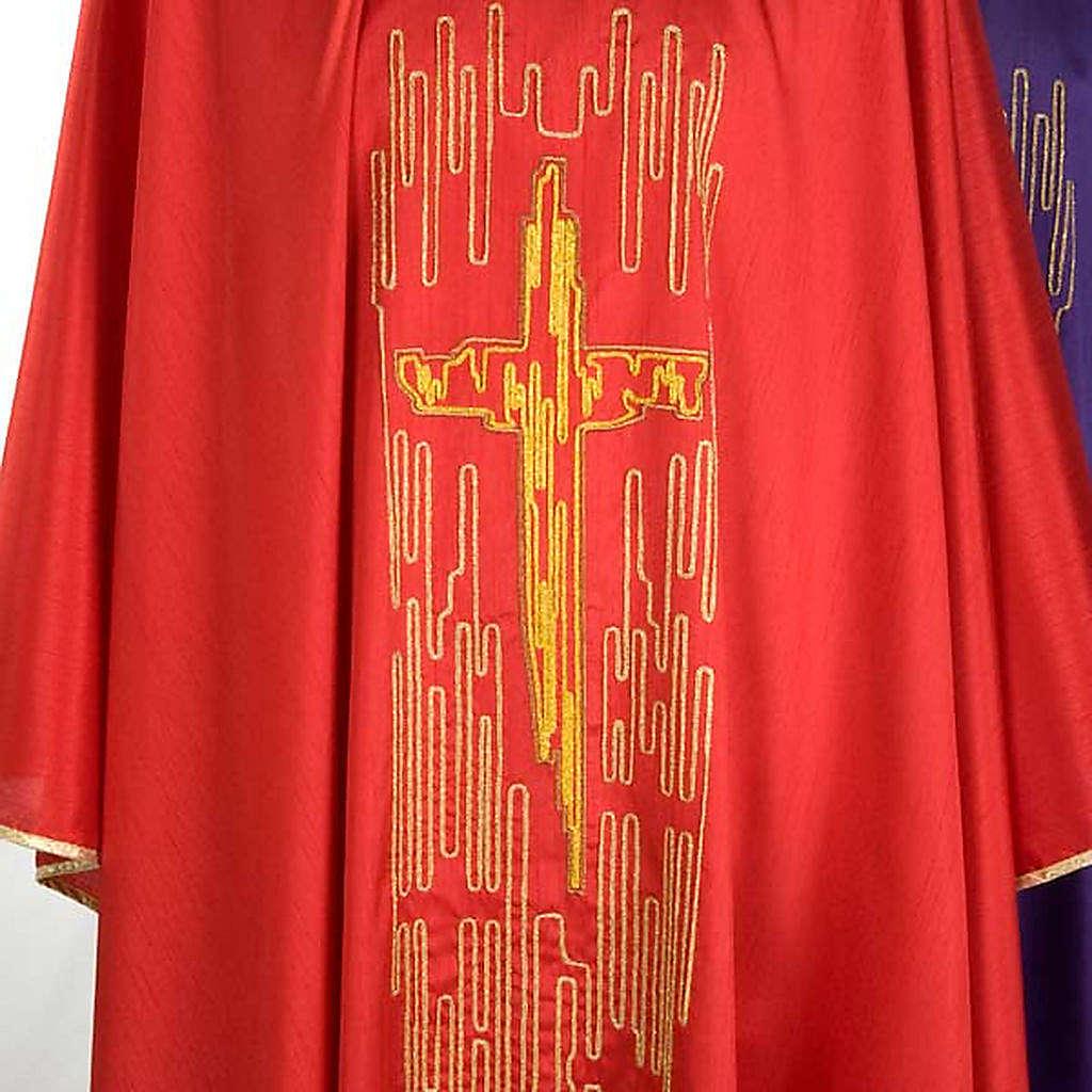 Casula shantung con ricamo croce stilizzata dorata 4