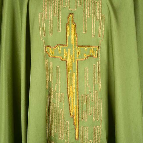 Casula shantung con ricamo croce stilizzata dorata 3