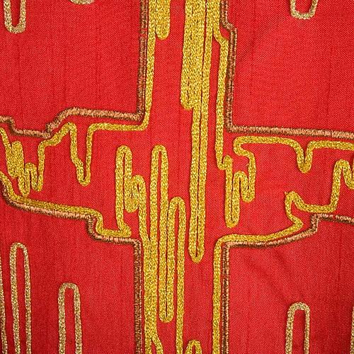 Casula shantung con ricamo croce stilizzata dorata 5