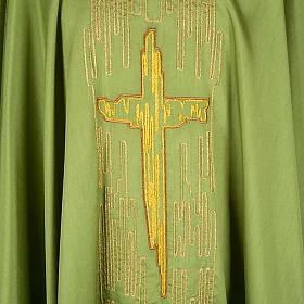 Chasuble golden stylized cross shantung s3