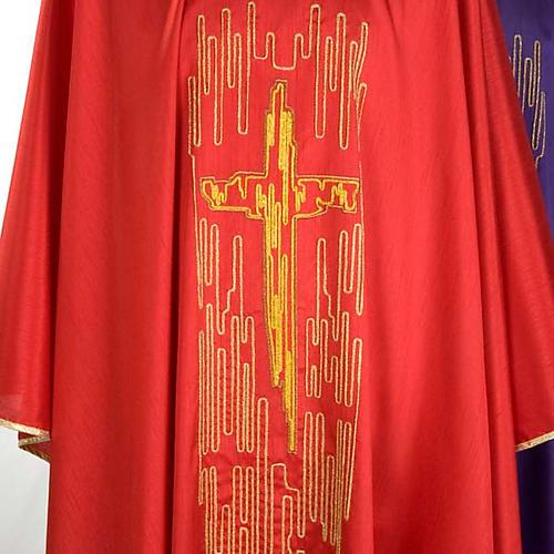 Chasuble golden stylized cross shantung 4