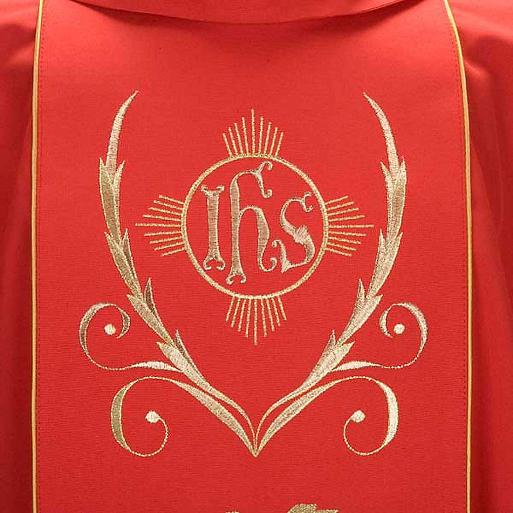 Catholic Priest Chasuble and stole with IHS and grape leaves 4