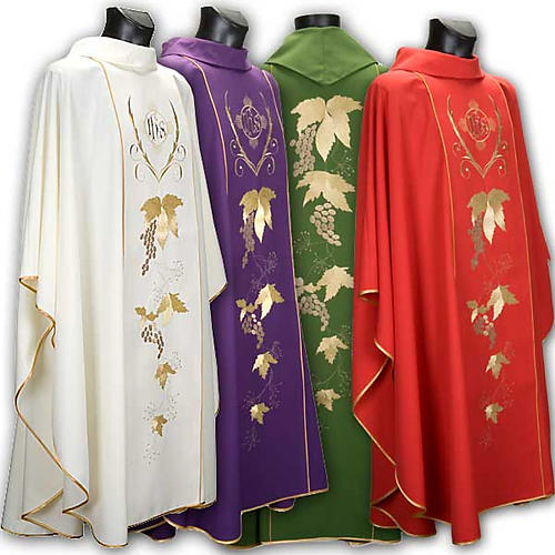 Catholic Priest Chasuble and stole with IHS and grape leaves 1