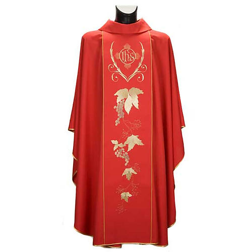 Catholic Priest Chasuble and stole with IHS and grape leaves 2