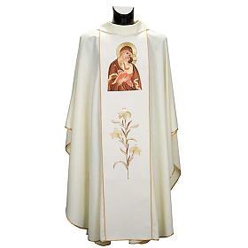 Casula mariana Madonna della Tenerezza e giglio s1