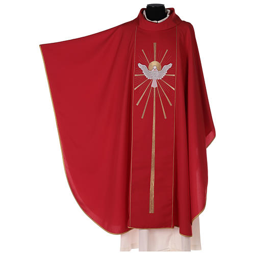 Red chasuble with Holy Spirit and blazes 2