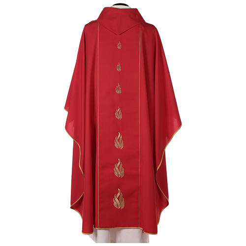 Red chasuble with Holy Spirit and blazes 5