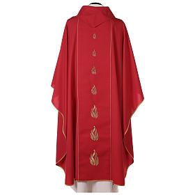 Casulla roja Espíritu Santo y llamas s5