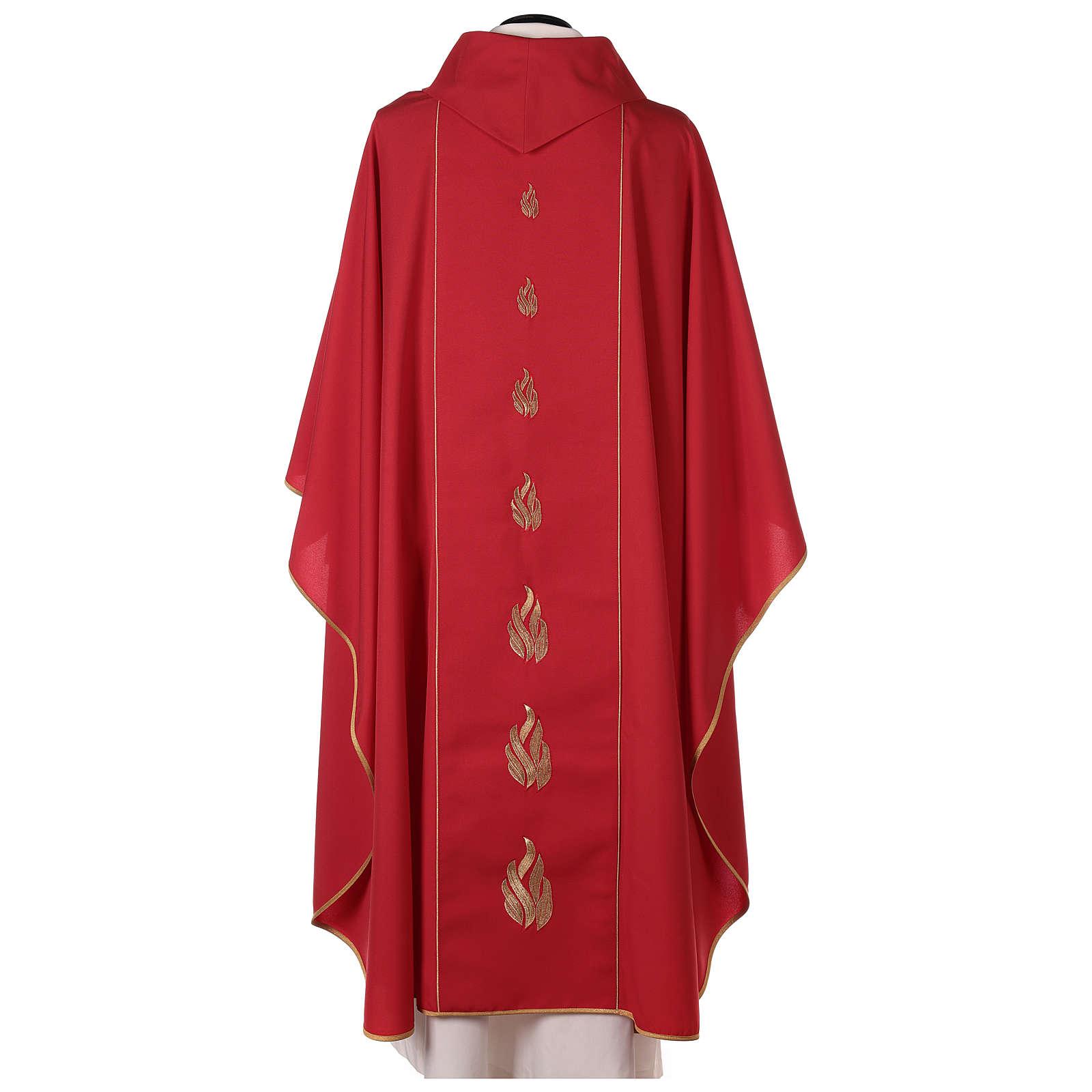 Chasuble rouge avec Saint Esprit et flammes 4