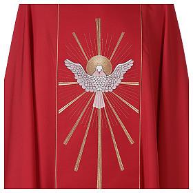 Chasuble rouge avec Saint Esprit et flammes s3