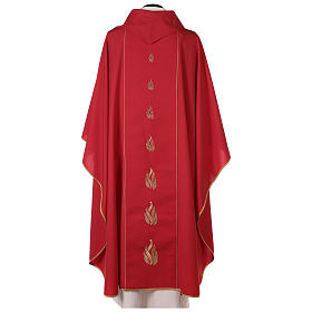 Chasuble rouge avec Saint Esprit et flammes s5