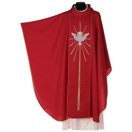 Chasuble rouge avec Saint Esprit et flammes 2