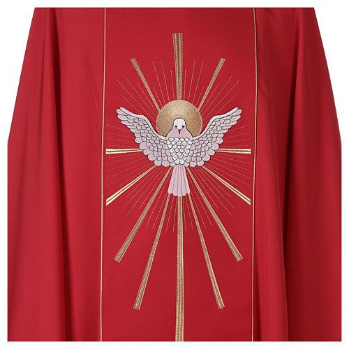 Chasuble rouge avec Saint Esprit et flammes 3