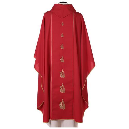 Chasuble rouge avec Saint Esprit et flammes 5