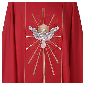 Red Latin Chasuble with Holy Spirit and blazes s3