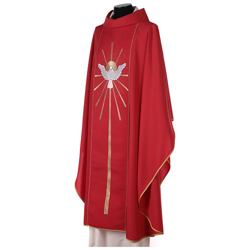 Red Latin Chasuble with Holy Spirit and blazes 4