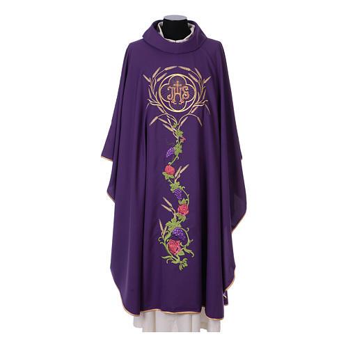 Casula sacerdotale IHS spiga calice uva