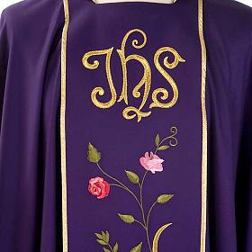 Chasuble liturgique 100% laine, IHS et roses s3