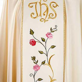 Chasuble liturgique 100% laine, IHS et roses s4