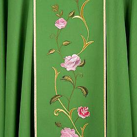 Chasuble liturgique 100% laine, IHS et roses s6
