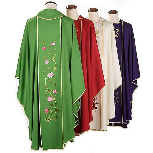 Chasuble liturgique 100% laine, IHS et roses 2