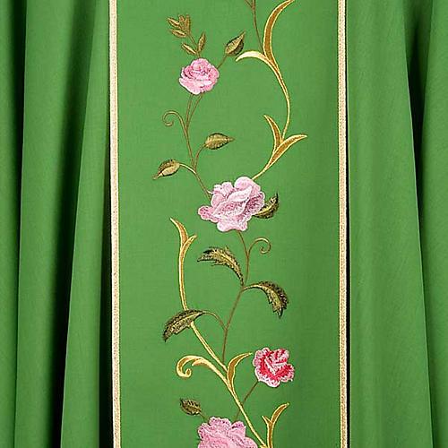 Chasuble liturgique 100% laine, IHS et roses 6