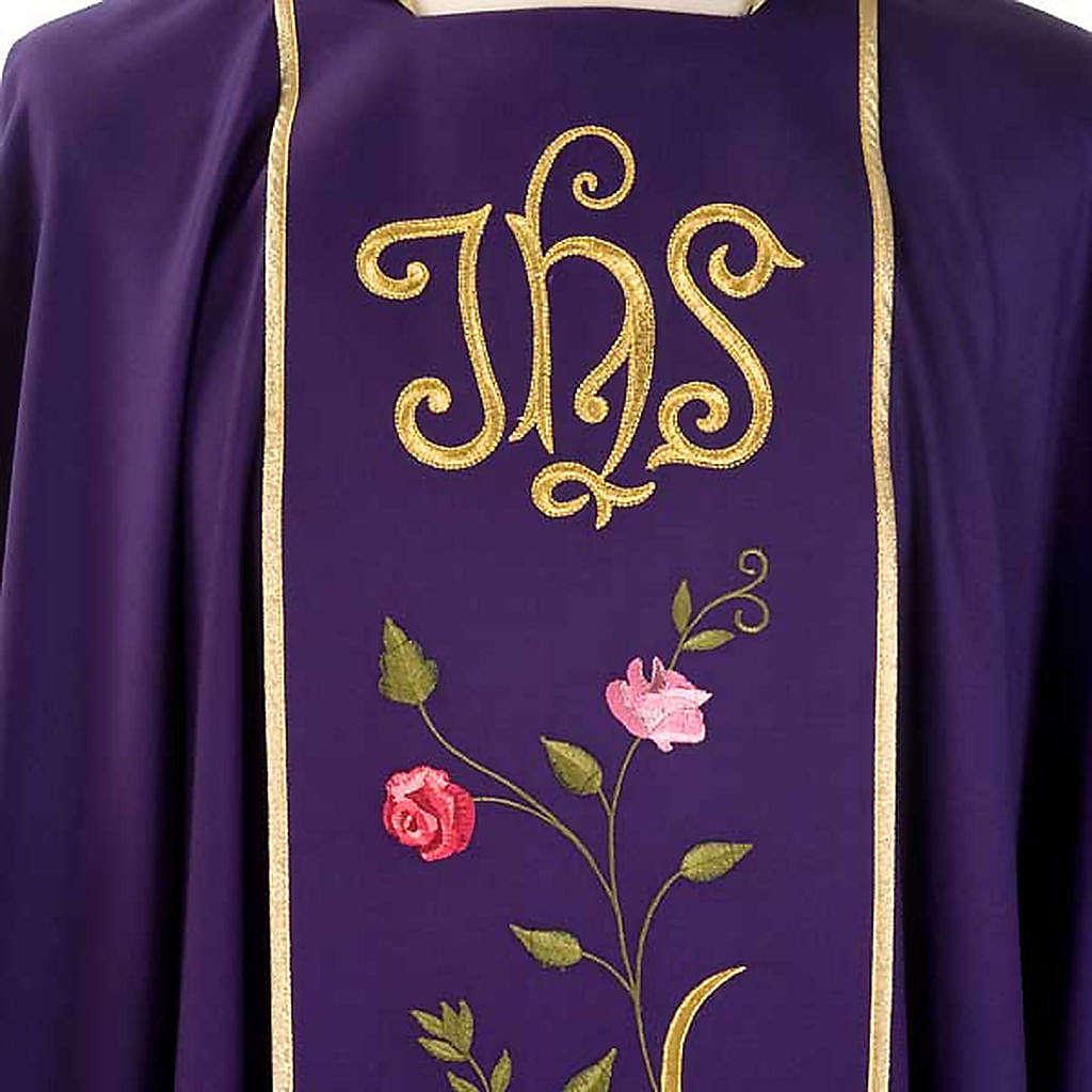 Casula liturgica IHS rose colorate 100% lana, con stola 4