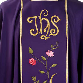 Casula liturgica IHS rose colorate 100% lana, con stola s3