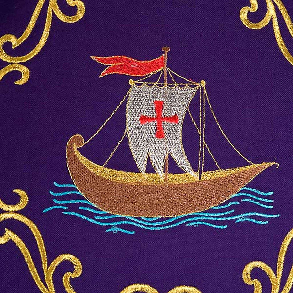 Priesterliche Kasel mit Schiff, Fisch, Kelch und Ähren,rein 4