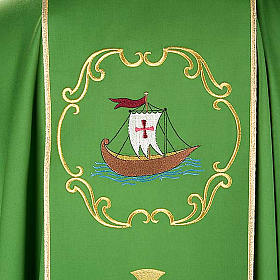 Priesterliche Kasel mit Schiff, Fisch, Kelch und Ähren,rein s6