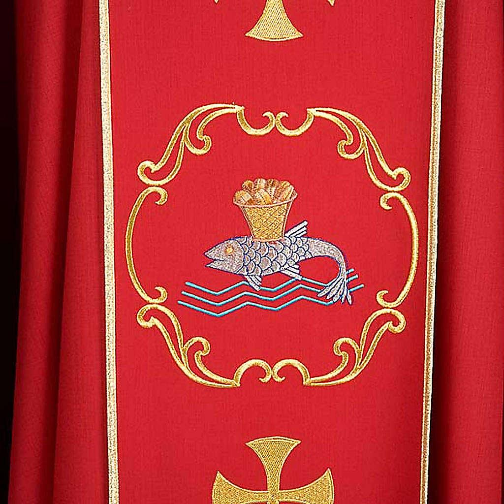Chasuble sacerdotale 100% laine, bateau, poisson et calice 4