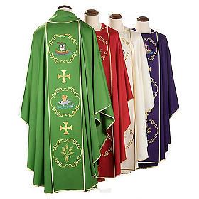 Chasuble sacerdotale 100% laine, bateau, poisson et calice s2
