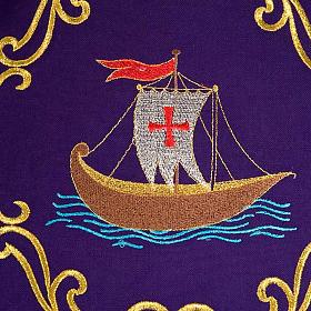 Chasuble sacerdotale 100% laine, bateau, poisson et calice s3